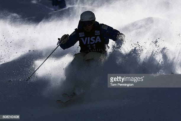 Britteny Cox of Australia takes a practice run for the women's moguls for the 2016 FIS Freestyle Ski World Cup at Deer Valley Resort on February 3...