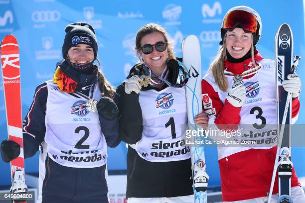 Britteny Cox of Australia wins the gold medal Perrine Laffont of France wins silver medal Justine Dufourlapointe of Canada wins the bronze medal...