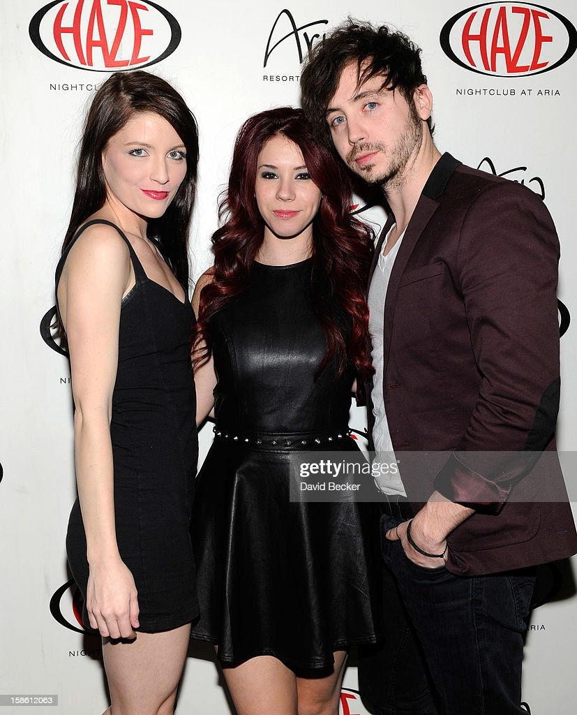 Brittney Berault, actor Marty Shannon and actress Jillian Rose Reed arrive at Haze Nightclub at the Aria Resort & Casino at CityCenter to celebrate Reed's 21st birthday on December 20, 2012 in Las Vegas, Nevada.