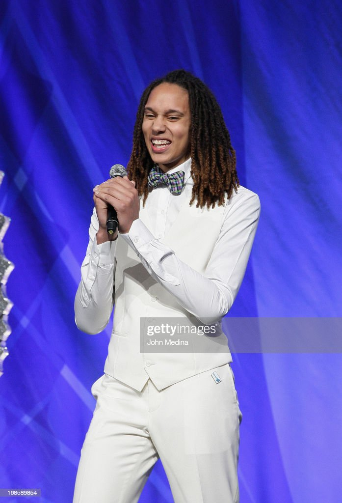 <a gi-track='captionPersonalityLinkClicked' href=/galleries/search?phrase=Brittney+Griner&family=editorial&specificpeople=6836945 ng-click='$event.stopPropagation()'>Brittney Griner</a> accpeta an award during the 24th Annual GLAAD Media Awards at the Hilton San Francisco - Union Square on May 11, 2013 in San Francisco, California.