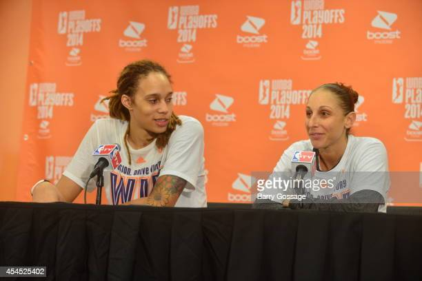 Brittney Griner and Diana Taurasi of the Phoenix Mercury speak with the media after winning Game 3 of the 2014 WNBA Western Conference Finals against...
