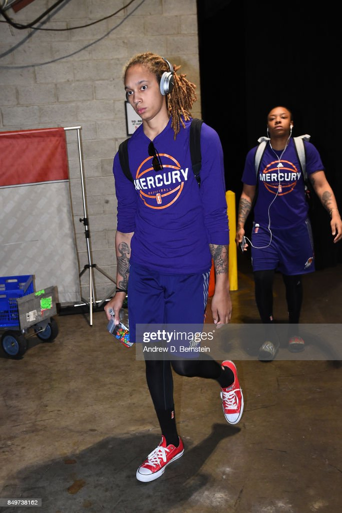 Brittney Griner #42 and Emma Cannon #10 of the Phoenix Mercury arrive before the game against the Los Angeles Sparks in Game One of the Semifinals during the 2017 WNBA Playoffs on September 12, 2017 at STAPLES Center in Los Angeles, California.