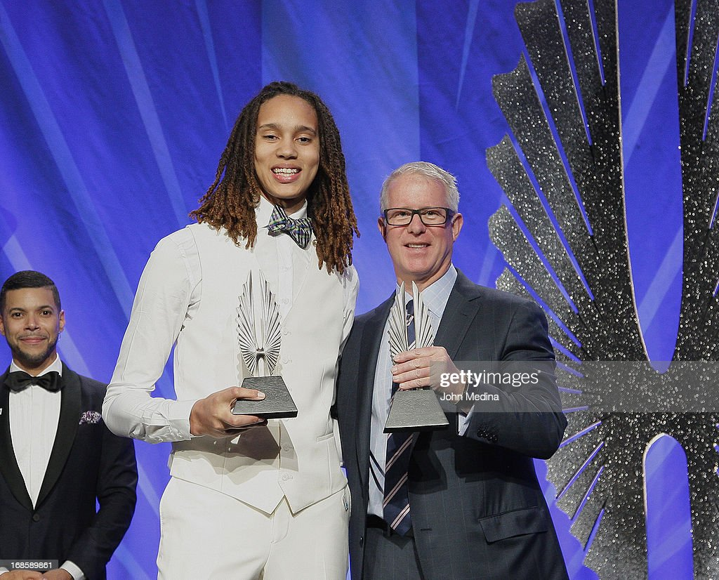 <a gi-track='captionPersonalityLinkClicked' href=/galleries/search?phrase=Brittney+Griner&family=editorial&specificpeople=6836945 ng-click='$event.stopPropagation()'>Brittney Griner</a> and Kevin McClatchey accpet awards during the 24th Annual GLAAD Media Awards at the Hilton San Francisco - Union Square on May 11, 2013 in San Francisco, California.