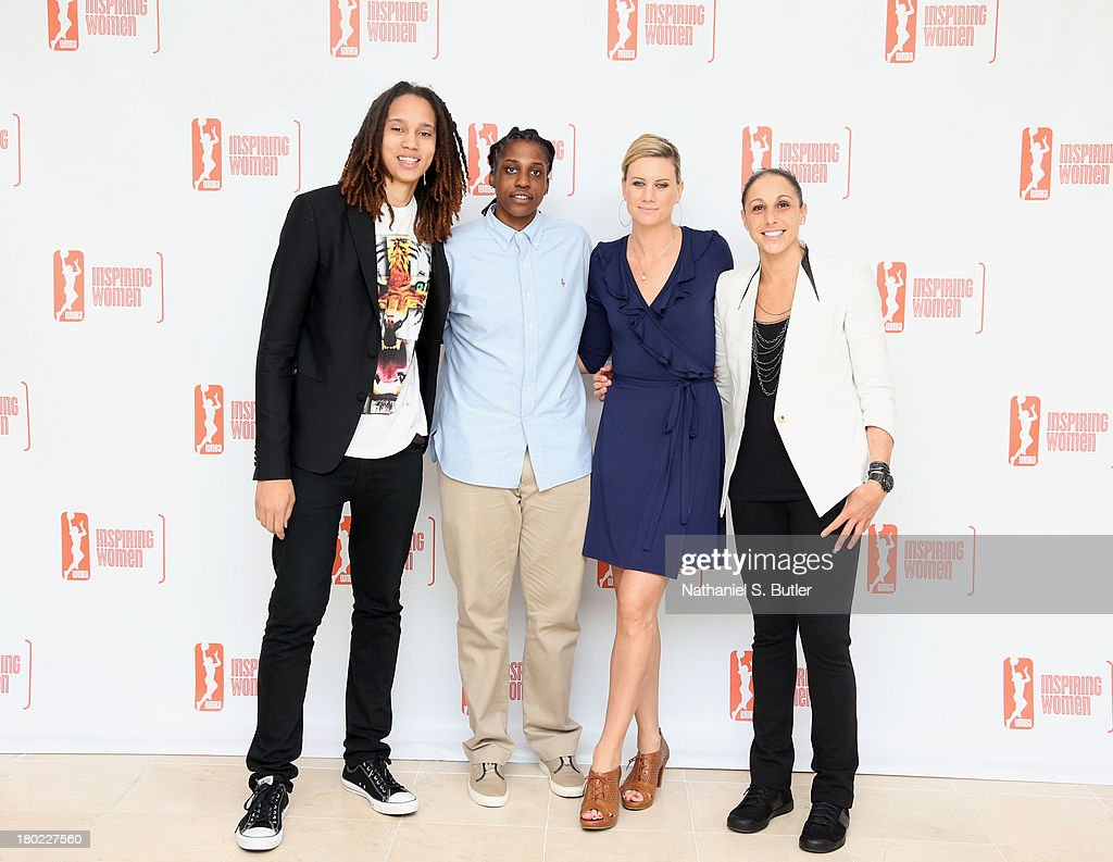 Brittney Griner #42, Lynetta Kizer #12, Penny Taylor #13 and Diana Taurasi #3 of the Phoenix Mercury pose for a picture at the 2013 WNBA Inspiring Women's Luncheon in New York City.