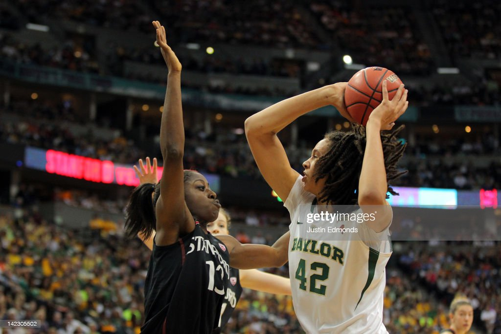 Brittney Griner of the Baylor Bears looks to go up for a shot in the first half against Chiney Ogwumike of the Stanford Cardinal during the National...