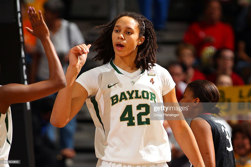 <a gi-track='captionPersonalityLinkClicked' href=/galleries/search?phrase=Brittney+Griner&family=editorial&specificpeople=6836945 ng-click='$event.stopPropagation()'>Brittney Griner</a> #42 of the Baylor Bears reacts in the first half against the Stanford Cardinal during the National Semifinal game of the 2012 NCAA Division I Women's Basketball Championship at Pepsi Center on April 1, 2012 in Denver, Colorado.