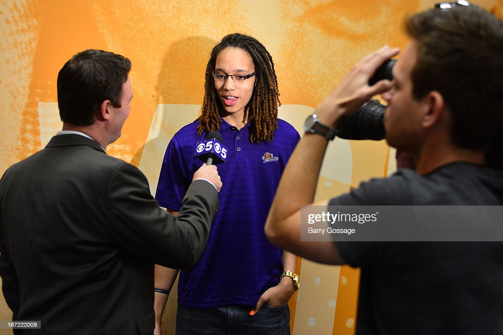 <a gi-track='captionPersonalityLinkClicked' href=/galleries/search?phrase=Brittney+Griner&family=editorial&specificpeople=6836945 ng-click='$event.stopPropagation()'>Brittney Griner</a> #42 of the Phoenix Mercury addresses the media during the introduction to the team on April 20, 2013 at U.S. Airways Center in Phoenix, Arizona.