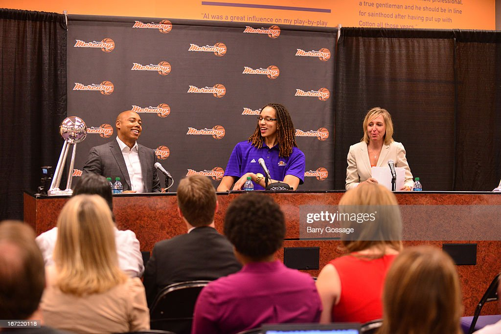 Brittney Griner #42 of the Phoenix Mercury (C) addresses the media with head coach Corey Gaines (L) and President/COO Amber Cox (R) during a press conference for her introduction to the team on April 20, 2013 at US Airways Center in Phoenix, Arizona.