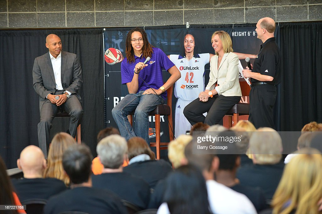 Brittney Griner #42 of the Phoenix Mercury (C) adresses the media with head coach Corey Gaines (L) and President/COO Amber Cox (R) during a press conference for her introduction to the team on April 20, 2013 at US Airways Center in Phoenix, Arizona.