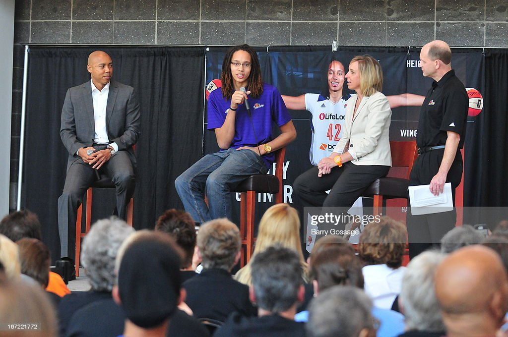<a gi-track='captionPersonalityLinkClicked' href=/galleries/search?phrase=Brittney+Griner&family=editorial&specificpeople=6836945 ng-click='$event.stopPropagation()'>Brittney Griner</a> #42 of the Phoenix Mercury (C) adresses the media with head coach Corey Gaines (L) and President/COO Amber Cox (R) during a press conference for her introduction to the team on April 20, 2013 at US Airways Center in Phoenix, Arizona.