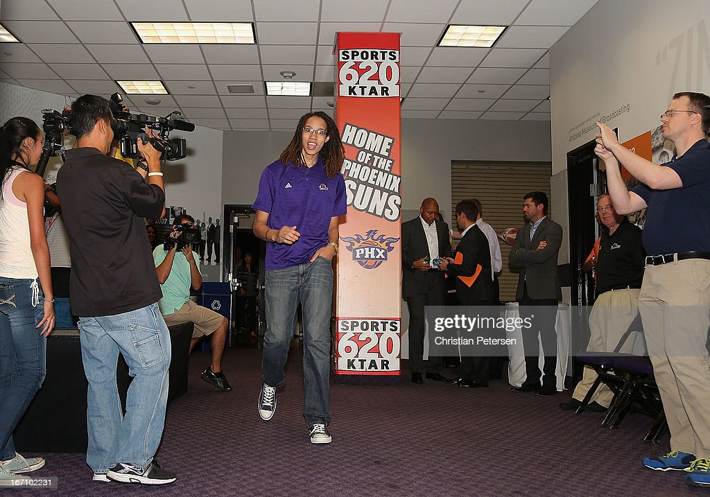 Brittney Griner of the Phoenix Mercury arrives to a press conference after being selected as the first pick in the 2013 WNBA Draft at US Airways Center on April 20, 2013 in Phoenix, Arizona.