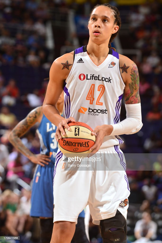 <a gi-track='captionPersonalityLinkClicked' href=/galleries/search?phrase=Brittney+Griner&family=editorial&specificpeople=6836945 ng-click='$event.stopPropagation()'>Brittney Griner</a> #42 of the Phoenix Mercury attempts a foul shot in the game against the Minnesota Lynx on June 19, 2013 at U.S. Airways Center in Phoenix, Arizona.