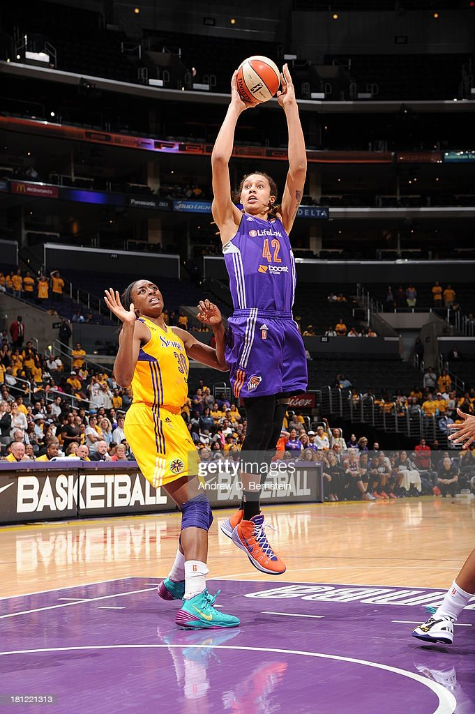 <a gi-track='captionPersonalityLinkClicked' href=/galleries/search?phrase=Brittney+Griner&family=editorial&specificpeople=6836945 ng-click='$event.stopPropagation()'>Brittney Griner</a> #42 of the Phoenix Mercury attempts a shot during a game against the Los Angeles Sparks at STAPLES Center on September 19, 2013 in Los Angeles, California.