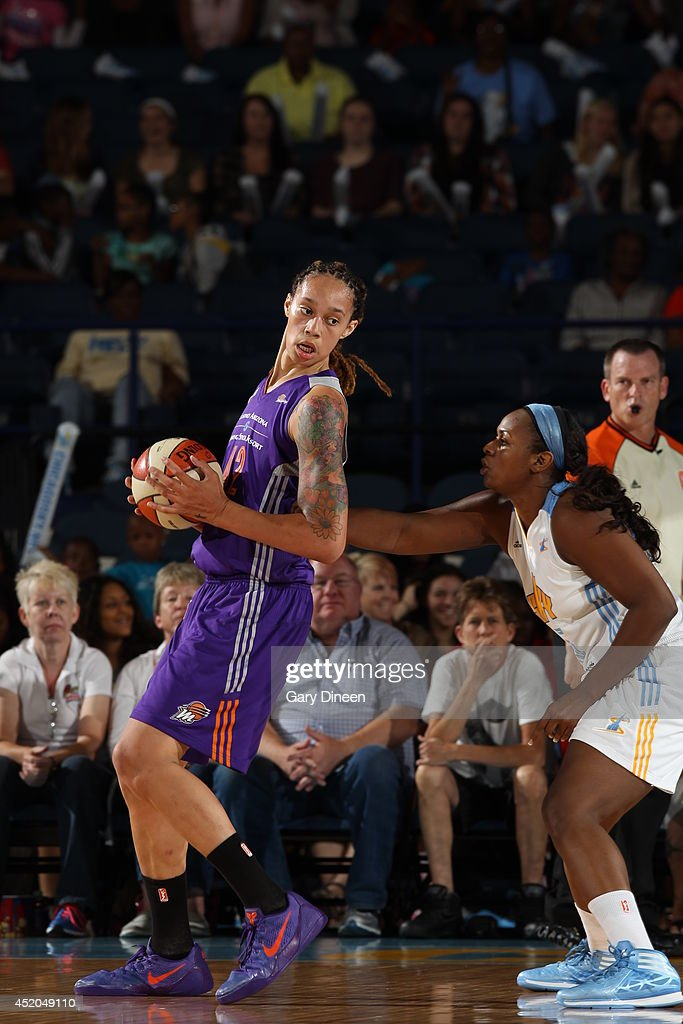 <a gi-track='captionPersonalityLinkClicked' href=/galleries/search?phrase=Brittney+Griner&family=editorial&specificpeople=6836945 ng-click='$event.stopPropagation()'>Brittney Griner</a> #42 of the Phoenix Mercury backs up to the basket against the Chicago Sky on July 11, 2014 at the Allstate Arena in Rosemont, Illinois.