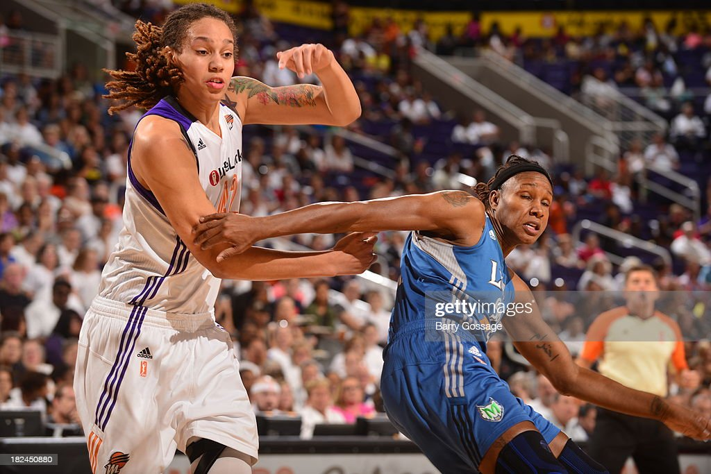 <a gi-track='captionPersonalityLinkClicked' href=/galleries/search?phrase=Brittney+Griner&family=editorial&specificpeople=6836945 ng-click='$event.stopPropagation()'>Brittney Griner</a> #42 of the Phoenix Mercury battles with <a gi-track='captionPersonalityLinkClicked' href=/galleries/search?phrase=Rebekkah+Brunson&family=editorial&specificpeople=213521 ng-click='$event.stopPropagation()'>Rebekkah Brunson</a> #32 of the Minnesota Lynx in Game 2 of the Western Conference Finals during 2013 WNBA Playoffs on September 29, 2013 at U.S. Airways Center in Phoenix, Arizona.