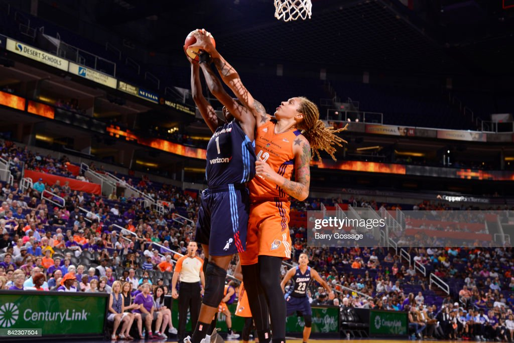 Brittney Griner #42 of the Phoenix Mercury blocks the shot against the Atlanta Dream on September 3, 2017 at Talking Stick Resort Arena in Phoenix, Arizona.