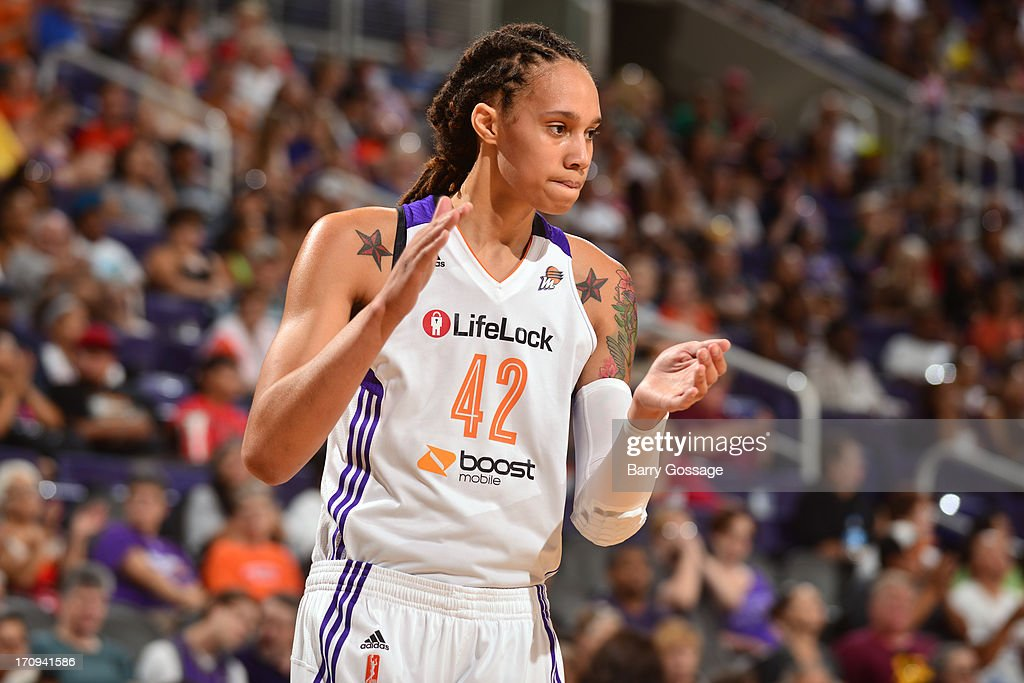 <a gi-track='captionPersonalityLinkClicked' href=/galleries/search?phrase=Brittney+Griner&family=editorial&specificpeople=6836945 ng-click='$event.stopPropagation()'>Brittney Griner</a> #42 of the Phoenix Mercury celebrates a play in the game against the Minnesota Lynx on June 19, 2013 at U.S. Airways Center in Phoenix, Arizona.