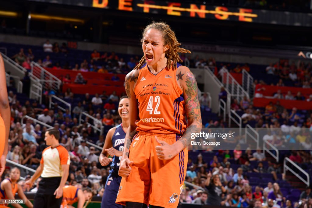 Brittney Griner #42 of the Phoenix Mercury celebrates a win against the Atlanta Dream on September 3, 2017 at Talking Stick Resort Arena in Phoenix, Arizona.