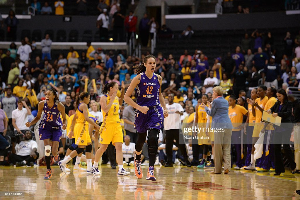 <a gi-track='captionPersonalityLinkClicked' href=/galleries/search?phrase=Brittney+Griner&family=editorial&specificpeople=6836945 ng-click='$event.stopPropagation()'>Brittney Griner</a> #42 of the Phoenix Mercury celebrates after sinking the go-ahead jumper against the Los Angeles Sparks in Game Three of the Western Conference Semifinal of the 2013 WNBA playoffs at Staples Center on September 23, 2013 in Los Angeles, California.