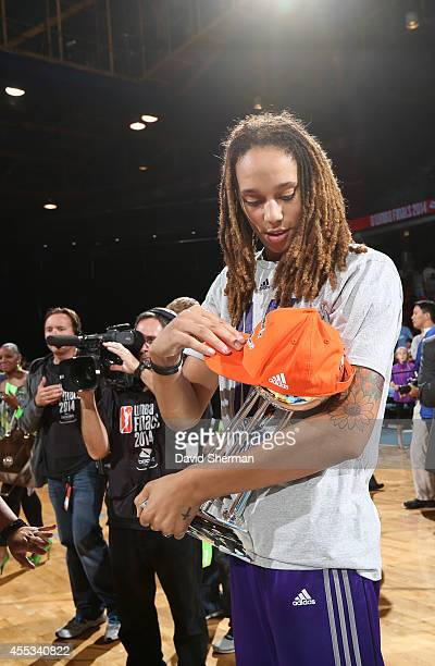 Brittney Griner of the Phoenix Mercury celebrates following Game Three of the 2014 WNBA Finals on September 12 2014 at the UIC Pavilion in Chicago...