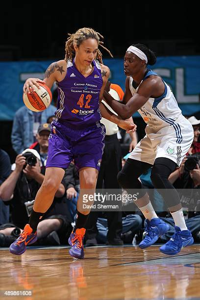 Brittney Griner of the Phoenix Mercury dribbles the ball against the Minnesota Lynx during Game One of the WNBA Western Conference Finals on...