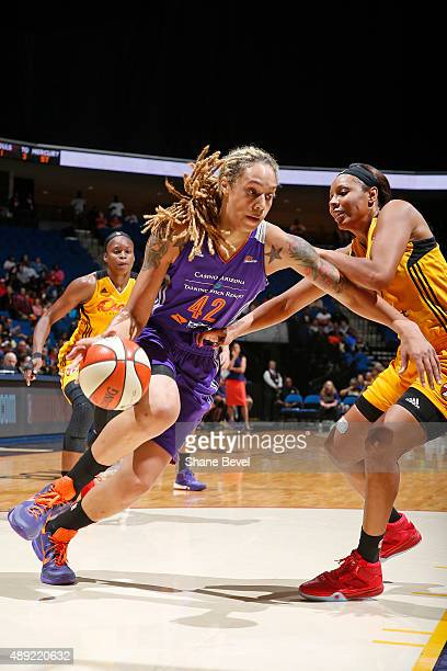 Brittney Griner of the Phoenix Mercury drives to the basket against the Tulsa Shock during Game Two of the WNBA Western Conference Semifinals on...