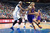 Brittney Griner of the Phoenix Mercury drives to the basket against the Minnesota Lynx during Game One of the WNBA Western Conference Finals on...