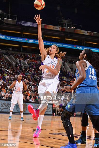 Brittney Griner of the Phoenix Mercury drives to the basket against the Minnesota Lynx during the WNBA Playoffs Western Conference Finals Game 2 on...