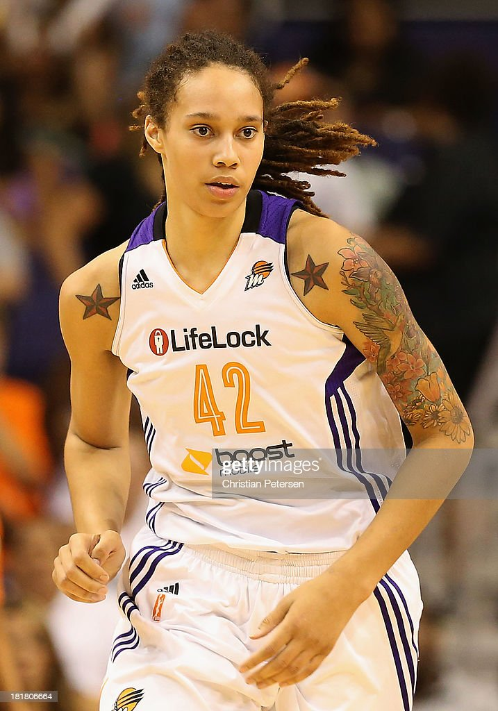 <a gi-track='captionPersonalityLinkClicked' href=/galleries/search?phrase=Brittney+Griner&family=editorial&specificpeople=6836945 ng-click='$event.stopPropagation()'>Brittney Griner</a> #42 of the Phoenix Mercury during Game Two of the WNBA semifinal playoffs against the Los Angeles Sparks at US Airways Center on September 21, 2013 in Phoenix, Arizona. The Sparks defeated the Mercury 82-73.