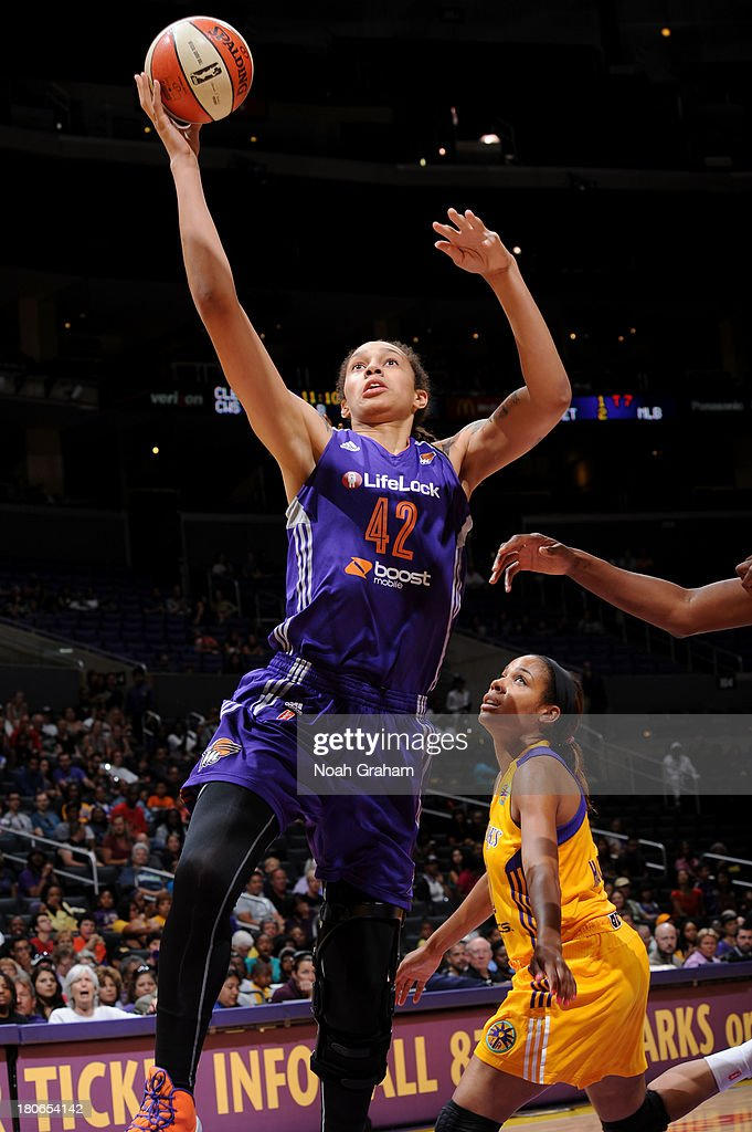 <a gi-track='captionPersonalityLinkClicked' href=/galleries/search?phrase=Brittney+Griner&family=editorial&specificpeople=6836945 ng-click='$event.stopPropagation()'>Brittney Griner</a> #42 of the Phoenix Mercury gets to the hoop against the Los Angeles Sparks at Staples Center on September 15, 2013 in Los Angeles, California.