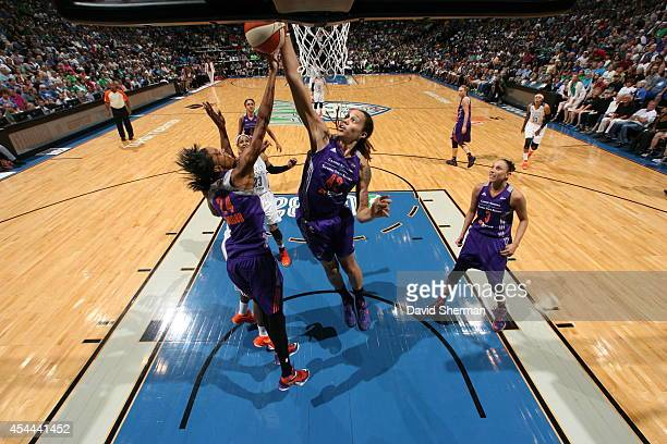 Brittney Griner of the Phoenix Mercury goes for the rebound against the Minnesota Lynx during the WNBA Western Conference Finals Game 2 on August 31...