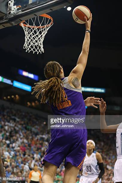Brittney Griner of the Phoenix Mercury goes for the shot against the Minnesota Lynx during the WNBA Western Conference Finals Game 2 on August 31...