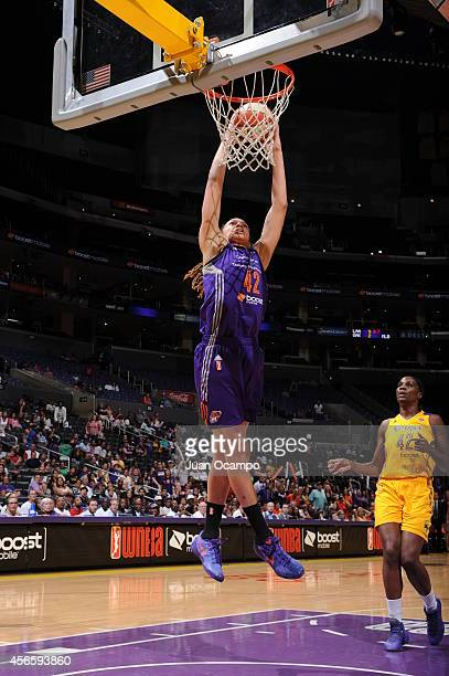 Brittney Griner of the Phoenix Mercury goes up for a dunk against the Los Angeles Sparks in Game Two of the WNBA Conference Semifinals at Staples...
