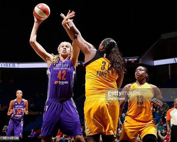 Brittney Griner of the Phoenix Mercury goes up for a shot against the Tulsa Shock on July 30 2015 at the BOK Center in Tulsa Oklahoma NOTE TO USER...