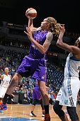Brittney Griner of the Phoenix Mercury grabs a rebound against the Minnesota Lynx during Game One of the WNBA Western Conference Finals on September...