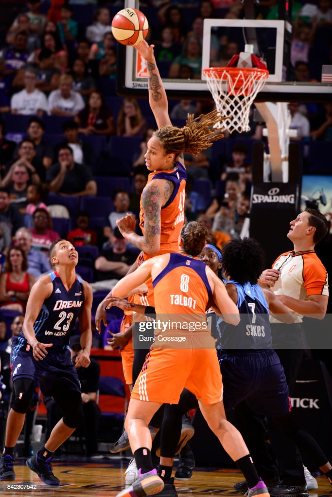 Brittney Griner #42 of the Phoenix Mercury grabs the rebound against the Atlanta Dream on September 3, 2017 at Talking Stick Resort Arena in Phoenix, Arizona.