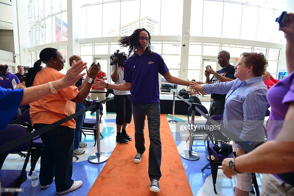 <a gi-track='captionPersonalityLinkClicked' href=/galleries/search?phrase=Brittney+Griner&family=editorial&specificpeople=6836945 ng-click='$event.stopPropagation()'>Brittney Griner</a> #42 of the Phoenix Mercury greets fans before the introduction to the team on April 20, 2013 at U.S. Airways Center in Phoenix, Arizona.