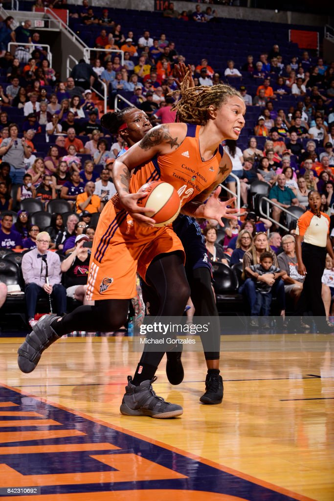 Brittney Griner #42 of the Phoenix Mercury handles the ball against the Atlanta Dream on September 3, 2017 at Talking Stick Resort Arena in Phoenix, Arizona.