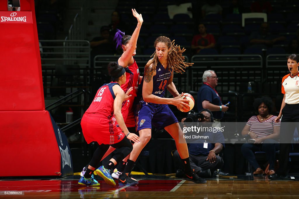 <a gi-track='captionPersonalityLinkClicked' href=/galleries/search?phrase=Brittney+Griner&family=editorial&specificpeople=6836945 ng-click='$event.stopPropagation()'>Brittney Griner</a> #42 of the Phoenix Mercury handles the ball during the game against the Washington Mystics during a WNBA game on June 24, 2016 at Verizon Center in Washington, DC.