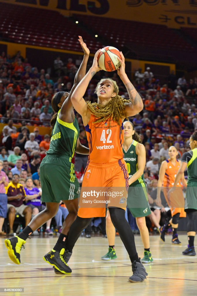 Brittney Griner #42 of the Phoenix Mercury handles the ball during the game against the Seattle Storm in Round One of the 2017 WNBA Playoffs on September 6, 2017 at Arizona State University Wells Fargo Arena in Tempe, Arizona.