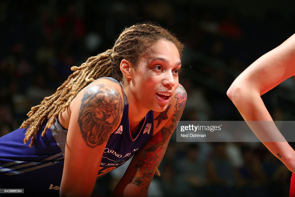 <a gi-track='captionPersonalityLinkClicked' href=/galleries/search?phrase=Brittney+Griner&family=editorial&specificpeople=6836945 ng-click='$event.stopPropagation()'>Brittney Griner</a> #42 of the Phoenix Mercury looks on during the game against the Washington Mystics during a WNBA game on June 24, 2016 at Verizon Center in Washington, DC.