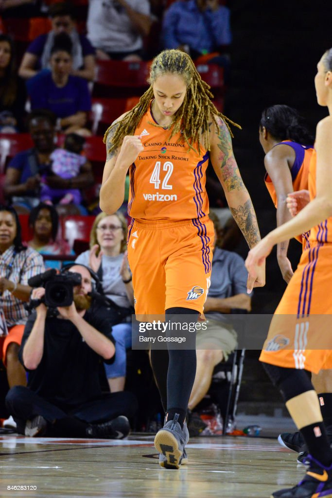 Brittney Griner #42 of the Phoenix Mercury looks on during the game against the Seattle Storm in Round One of the 2017 WNBA Playoffs on September 6, 2017 at Arizona State University Wells Fargo Arena in Tempe, Arizona.