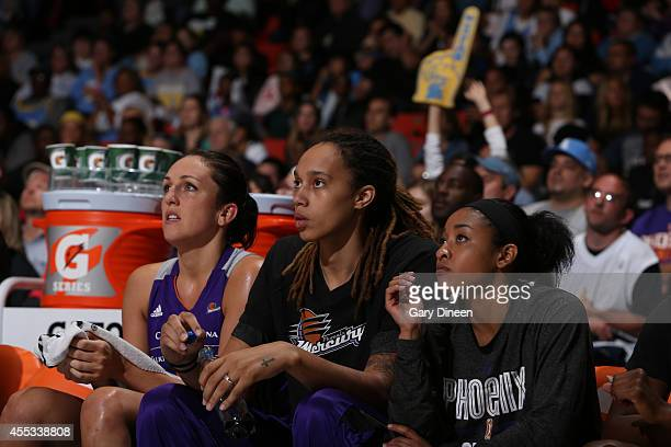 Brittney Griner of the Phoenix Mercury looks on in Game Three of the 2014 WNBA Finals on September 12 2014 at the UIC Pavilion in Chicago Illinois...
