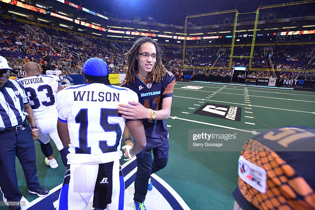 Brittney Griner #42 of the Phoenix Mercury performs the coin toss before the Arizona Rattlers take on the San Antonio Talons on April 20, 2013 at U.S. Airways Center in Phoenix, Arizona.