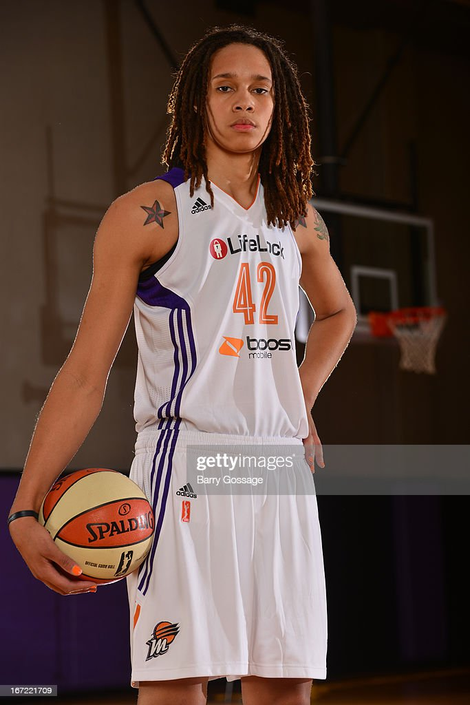 Brittney Griner #42 of the Phoenix Mercury poses for a photo during her introduction to the team on April 20, 2013 at U.S. Airways Center in Phoenix, Arizona.
