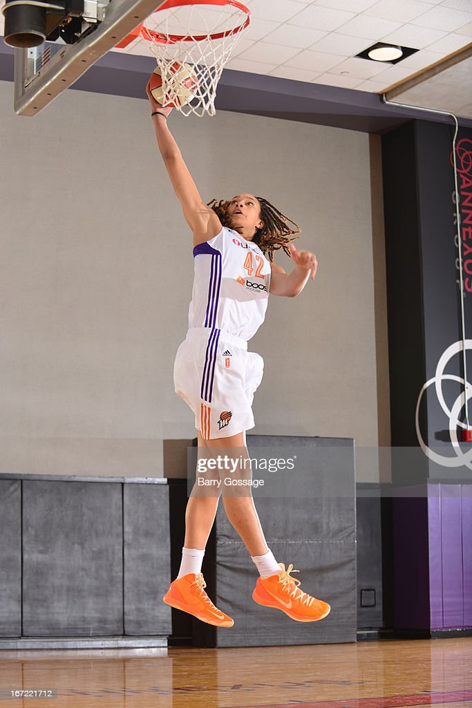 <a gi-track='captionPersonalityLinkClicked' href=/galleries/search?phrase=Brittney+Griner&family=editorial&specificpeople=6836945 ng-click='$event.stopPropagation()'>Brittney Griner</a> #42 of the Phoenix Mercury poses for a photo during her introduction to the team on April 20, 2013 at U.S. Airways Center in Phoenix, Arizona.