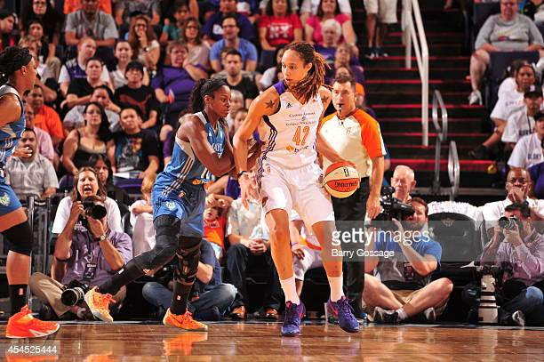 Brittney Griner of the Phoenix Mercury posts up against the Minnesota Lynx in Game 3 of the 2014 WNBA Western Conference Finals on September 2 2014...