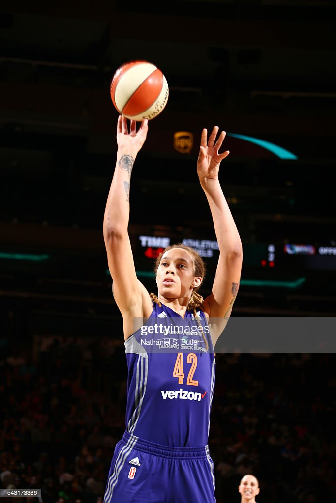 <a gi-track='captionPersonalityLinkClicked' href=/galleries/search?phrase=Brittney+Griner&family=editorial&specificpeople=6836945 ng-click='$event.stopPropagation()'>Brittney Griner</a> #42 of the Phoenix Mercury shoots a free throw against the New York Liberty on June 26, 2016 at Madison Square Garden in New York, New York.