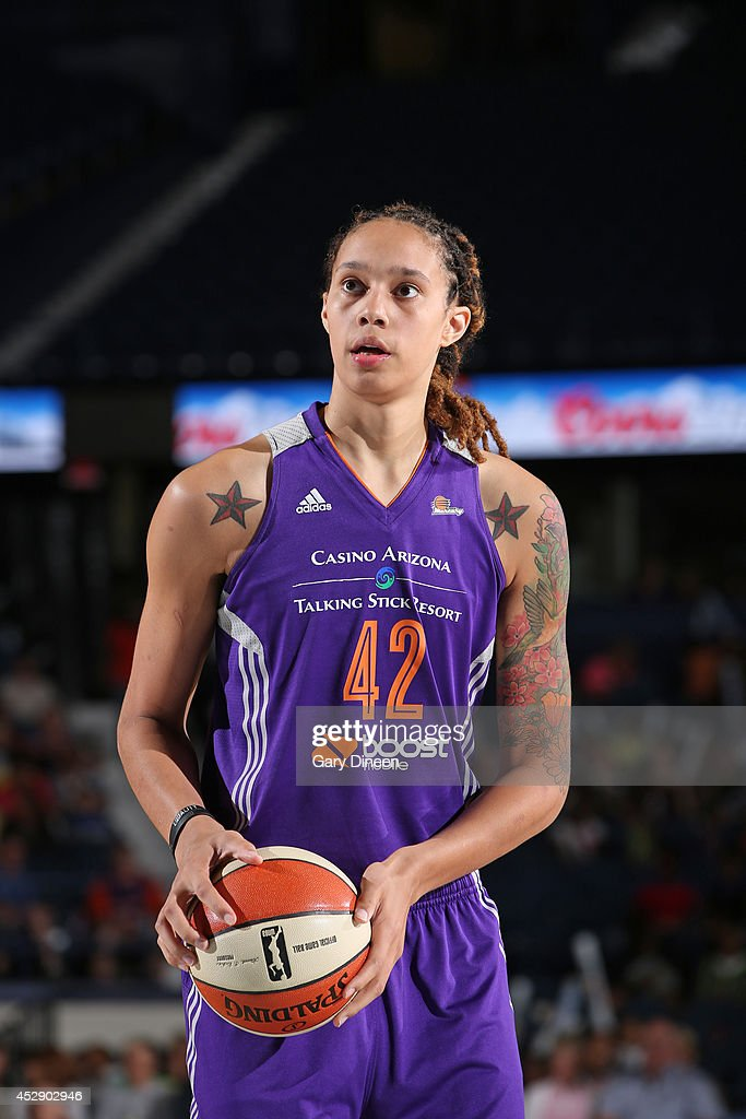 <a gi-track='captionPersonalityLinkClicked' href=/galleries/search?phrase=Brittney+Griner&family=editorial&specificpeople=6836945 ng-click='$event.stopPropagation()'>Brittney Griner</a> #42 of the Phoenix Mercury shoots a free throw during the game against the Chicago Sky on July 11, 2014 at the Allstate Arena in Rosemont, Illinois.