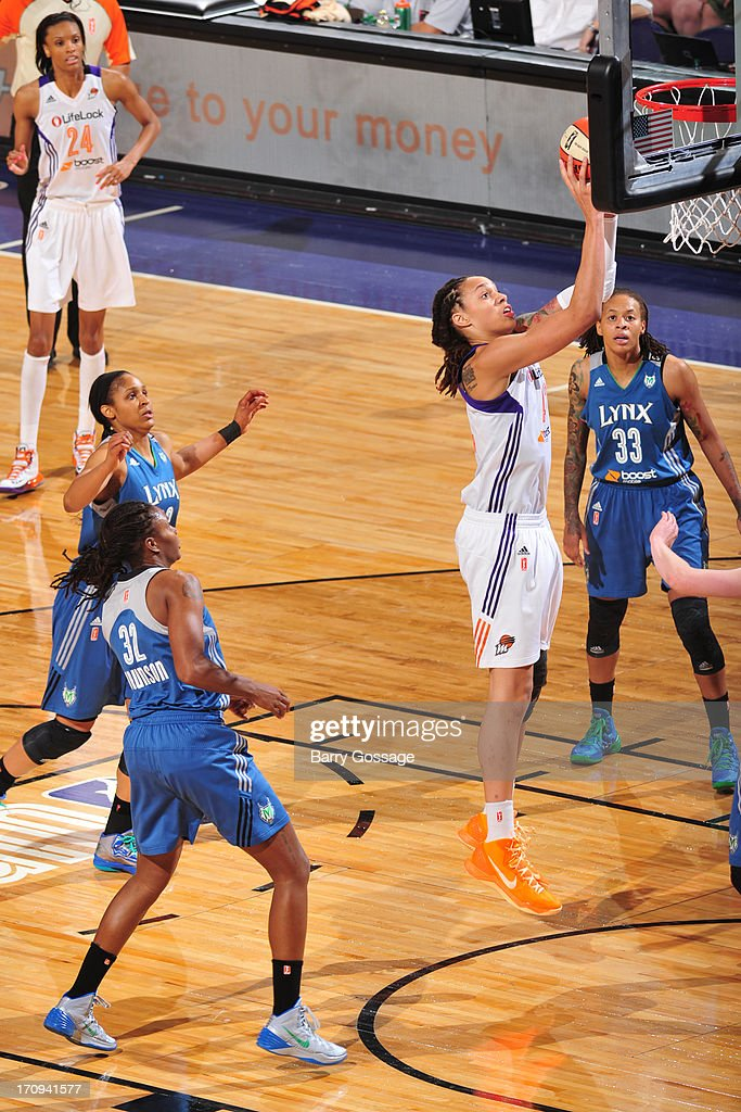 <a gi-track='captionPersonalityLinkClicked' href=/galleries/search?phrase=Brittney+Griner&family=editorial&specificpeople=6836945 ng-click='$event.stopPropagation()'>Brittney Griner</a> #42 of the Phoenix Mercury shoots against the Minnesota Lynx on June 19, 2013 at U.S. Airways Center in Phoenix, Arizona.